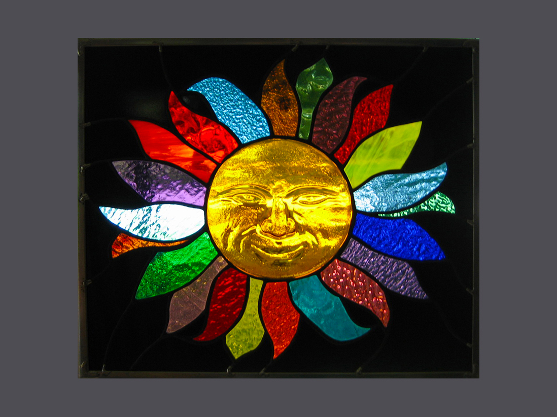 Smiling 3d Sun Stained Glass Window Panel Ebsq Artist Phil